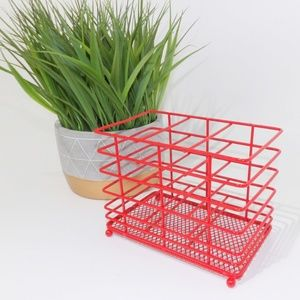 Other - Red Metal Makeup Brush Holder Caddy Container Bin